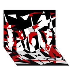 Red, Black And White Chaos Boy 3d Greeting Card (7x5) by Valentinaart