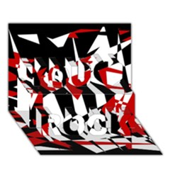 Red, black and white chaos You Rock 3D Greeting Card (7x5)