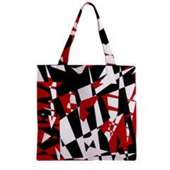 Red, Black And White Chaos Zipper Grocery Tote Bag by Valentinaart