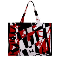Red, Black And White Chaos Zipper Mini Tote Bag by Valentinaart