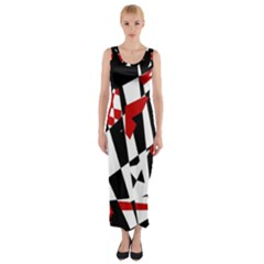 Red, Black And White Chaos Fitted Maxi Dress by Valentinaart