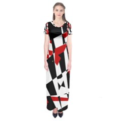 Red, Black And White Chaos Short Sleeve Maxi Dress by Valentinaart