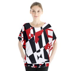 Red, black and white chaos Blouse by Valentinaart