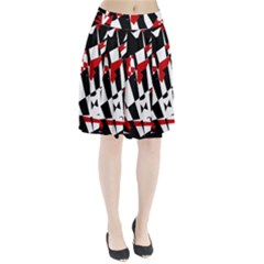 Red, Black And White Chaos Pleated Skirt by Valentinaart