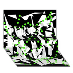 Black, White And Green Chaos Miss You 3d Greeting Card (7x5)