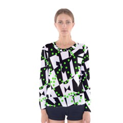 Black, White And Green Chaos Women s Long Sleeve Tee