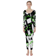 Black, White And Green Chaos Long Sleeve Catsuit by Valentinaart