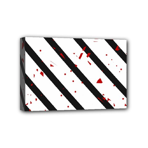 Elegant Black, Red And White Lines Mini Canvas 6  X 4  by Valentinaart