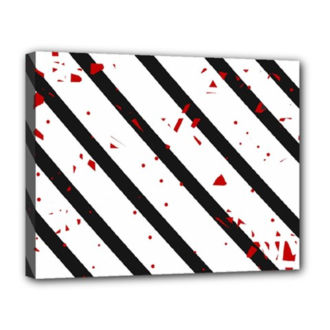 Elegant Black, Red And White Lines Canvas 14  X 11  by Valentinaart