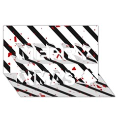 Elegant Black, Red And White Lines Merry Xmas 3d Greeting Card (8x4) by Valentinaart