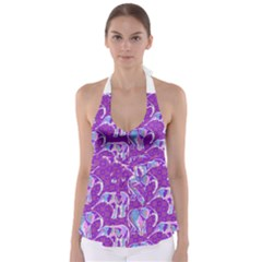 Cute Violet Elephants Pattern Babydoll Tankini Top