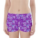 Cute Violet Elephants Pattern Boyleg Bikini Wrap Bottoms View1