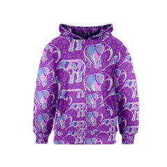 Cute Violet Elephants Pattern Kids  Pullover Hoodie