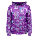 Cute Violet Elephants Pattern Women s Pullover Hoodie