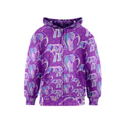Cute Violet Elephants Pattern Kids  Zipper Hoodie