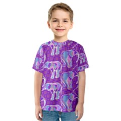 Cute Violet Elephants Pattern Kid s Sport Mesh Tee