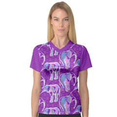 Cute Violet Elephants Pattern Women s V Neck Sport Mesh Tee