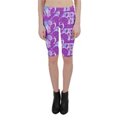 Cute Violet Elephants Pattern Cropped Leggings