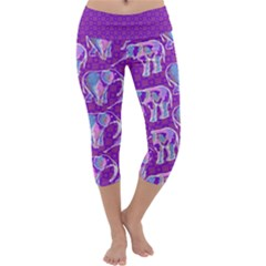 Cute Violet Elephants Pattern Capri Yoga Leggings