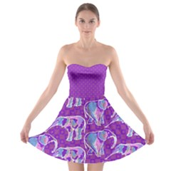 Cute Violet Elephants Pattern Strapless Bra Top Dress