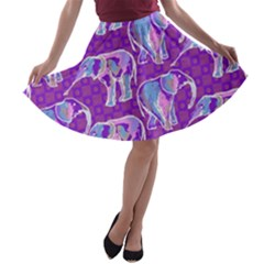 Cute Violet Elephants Pattern A Line Skater Skirt