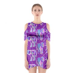 Cute Violet Elephants Pattern Women s Cutout Shoulder One Piece