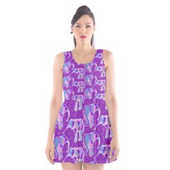 Cute Violet Elephants Pattern Scoop Neck Skater Dress