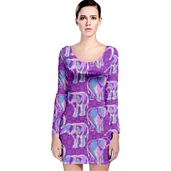 Cute Violet Elephants Pattern Long Sleeve Velvet Bodycon Dress