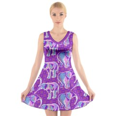 Cute Violet Elephants Pattern V Neck Sleeveless Dress by DanaeStudio