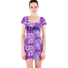 Cute Violet Elephants Pattern Short Sleeve Bodycon Dress by DanaeStudio