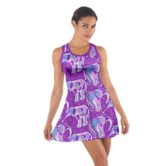 Cute Violet Elephants Pattern Cotton Racerback Dress