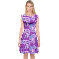 Cute Violet Elephants Pattern Capsleeve Midi Dress