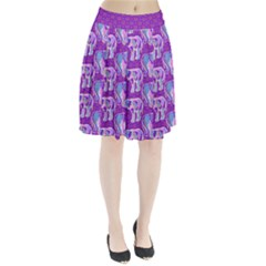 Cute Violet Elephants Pattern Pleated Skirt