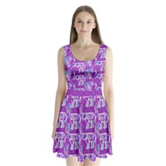 Cute Violet Elephants Pattern Split Back Mini Dress