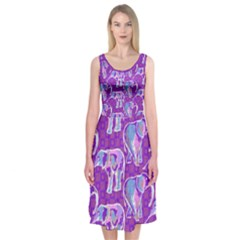 Cute Violet Elephants Pattern Midi Sleeveless Dress