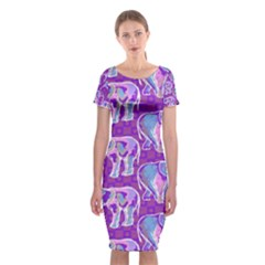 Cute Violet Elephants Pattern Classic Short Sleeve Midi Dress