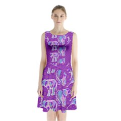 Cute Violet Elephants Pattern Sleeveless Chiffon Waist Tie Dress