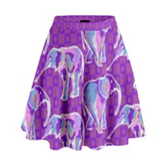 Cute Violet Elephants Pattern High Waist Skirt