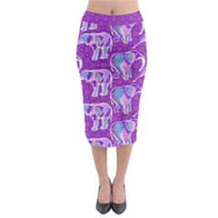Cute Violet Elephants Pattern Midi Pencil Skirt