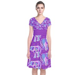 Cute Violet Elephants Pattern Short Sleeve Front Wrap Dress