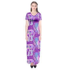 Cute Violet Elephants Pattern Short Sleeve Maxi Dress
