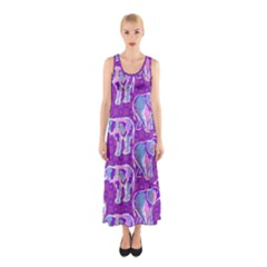 Cute Violet Elephants Pattern Sleeveless Maxi Dress