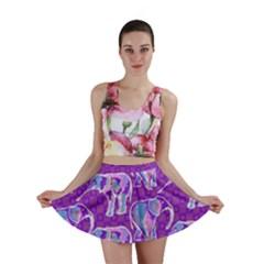 Cute Violet Elephants Pattern Mini Skirt by DanaeStudio