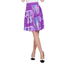 Cute Violet Elephants Pattern A Line Skirt
