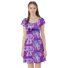 Cute Violet Elephants Pattern Short Sleeve Skater Dress by DanaeStudio