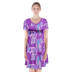 Cute Violet Elephants Pattern Short Sleeve V Neck Flare Dress