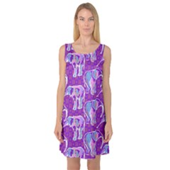 Cute Violet Elephants Pattern Sleeveless Satin Nightdress by DanaeStudio