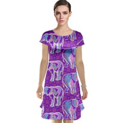 Cute Violet Elephants Pattern Cap Sleeve Nightdress by DanaeStudio