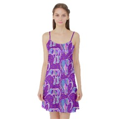 Cute Violet Elephants Pattern Satin Night Slip