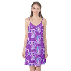 Cute Violet Elephants Pattern Camis Nightgown